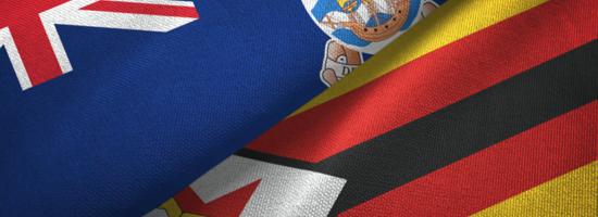 Falkland Islands and Zimbabwe Flags